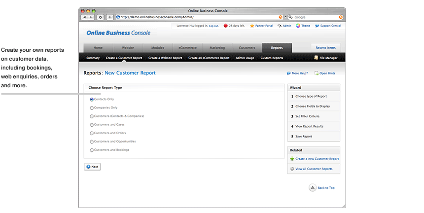 Online Website Dashboard customer report